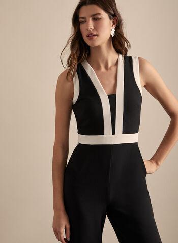 Vince Camuto - Contrast Crepe Jumpsuit, Black,  spring summer 2020, jumpsuit, crepe, sleeveless, wide leg