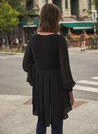 Puffed Sheer Sleeve Tunic, Black