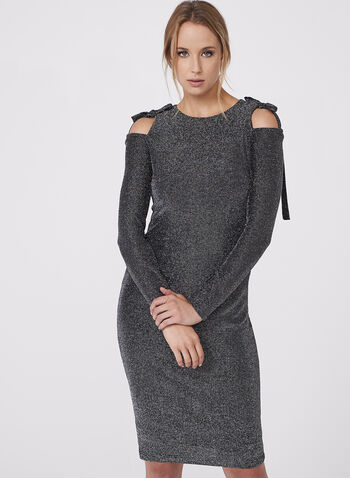 Maggy London - Metallic Cold Shoulder Dress, Silver, hi-res