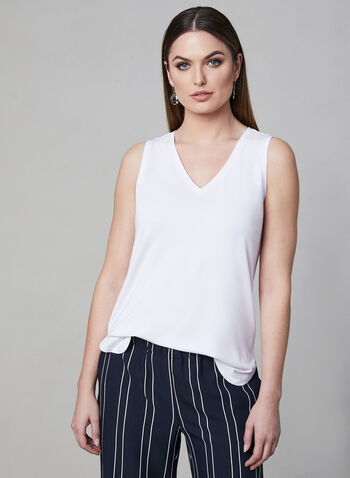 Sleeveless V-Neck Top, White, hi-res