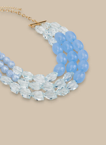 Mixed Stone & Bead Necklace, Blue,  necklace, beads, stones, beaded necklace, spring 2020, summer 2020, pastel