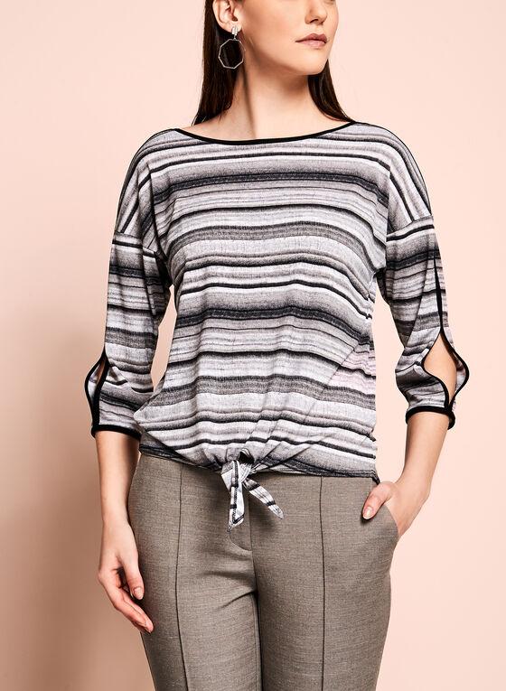 ¾ Sleeve Stripe Print Top, White, hi-res