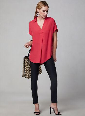 Blouse tunique à col chemisier, Rose, hi-res,  encolure V, col chemise, manches courtes, printemps 2019, asymétrique