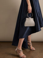 Metallic Ring Handle Evening Bag, Silver