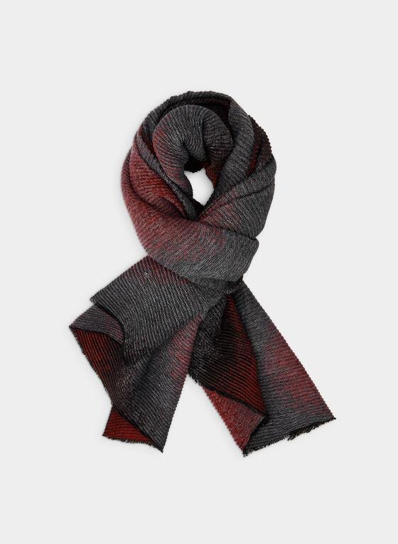 Foulard oblong plissé et ombré, Rouge, hi-res