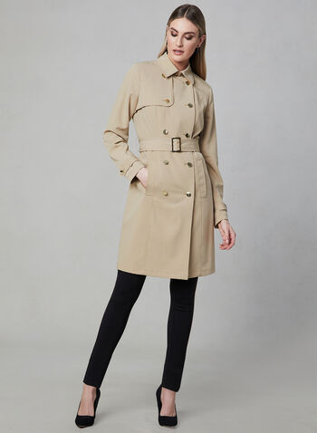 Stand Collar Trench Coat, Brown, hi-res