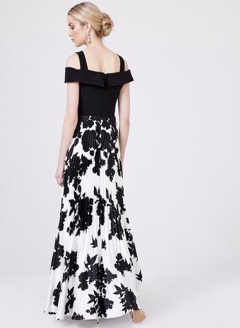 Frank Lyman - Floral Print Off The Shoulder Dress, Black, hi-res