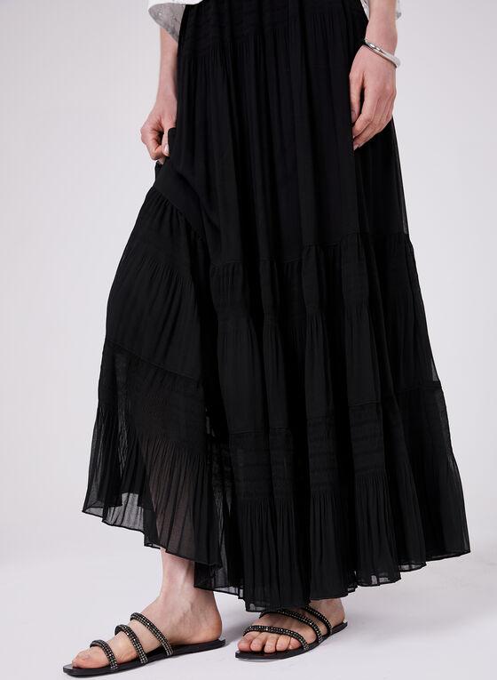 Alison Sheri - Jupe maxi en mousseline à effet plissé, Noir, hi-res