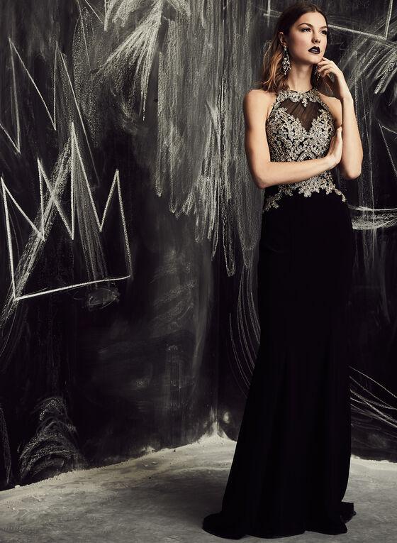 BA Nites - Embellished Appliqué Gown, Black, hi-res