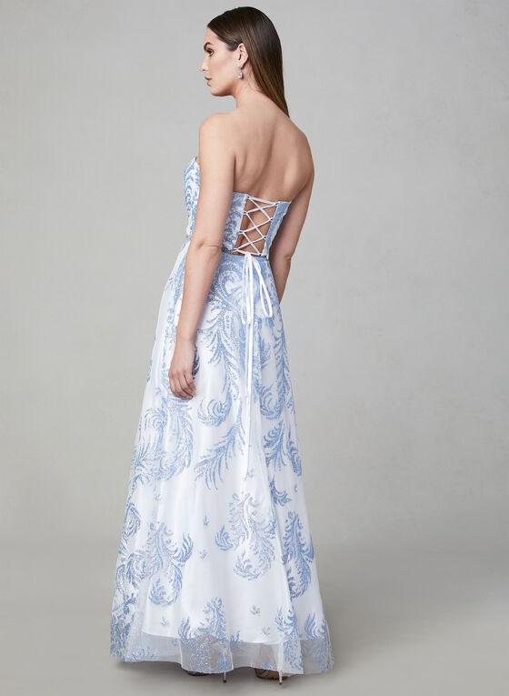 Cachet - Strapless Glitter Gown, White