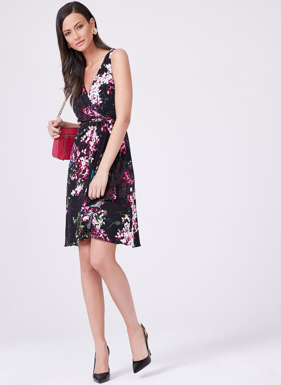 Adrianna Papell - Floral Print Surplice Dress, Black, hi-res