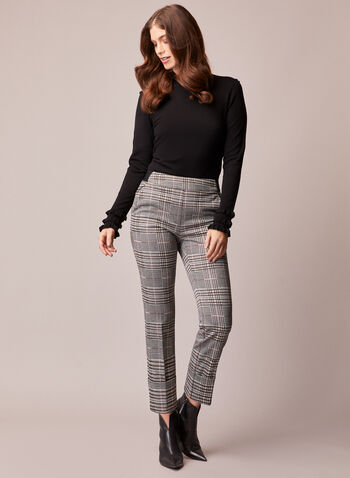 Tartan Print Straight Leg Pants, Black,  pants, pull-on, tartan, elastic, fall winter 2020