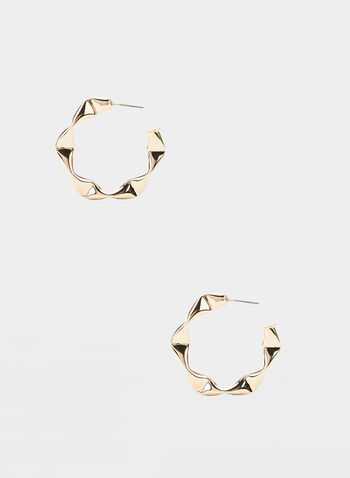 Hammered Metal Hoop Earrings, Gold, hi-res,  hammered, metallic, fall 201, winter 2019