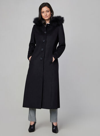 Anne Klein - Wool & Fox Fur Long Coat , Black, hi-res,  coat, long, wool, fur, pockets, fall 2019, winter 2019