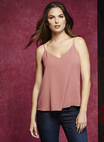Double Layer Crepe Tank Top, Pink, hi-res