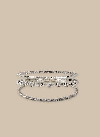 Bracelet à triple rangée de cristaux, Argent,  bracelet, cristaux, triple, métal, printemps été 2020