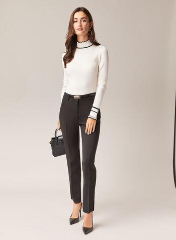 Pull à col montant et détails contrastants, Blanc,  pull, col montant, manches longues, contraste, tricot , automne hiver 2020