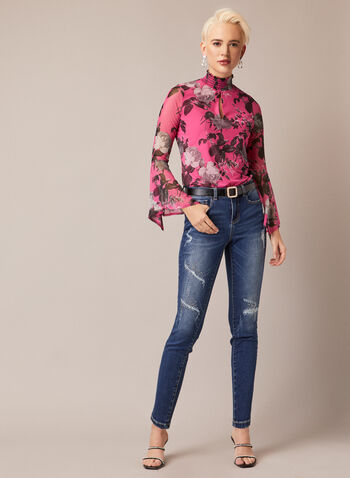Smocked Neck Floral Print Blouse, Multi,  fall winter 2020, made in Canada, blouse, top, flowers, flared sleeves, long sleeves, holiday, floral