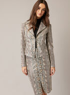 Faux Snakeskin Notch Collar Jacket, Brown
