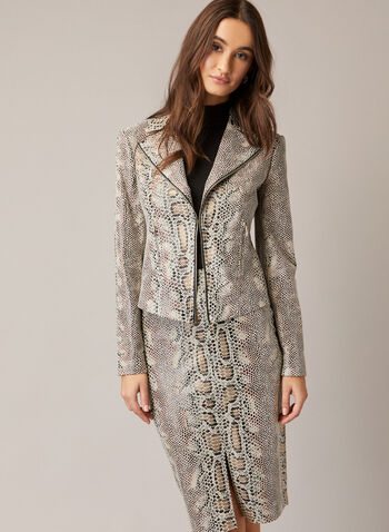 Faux Snakeskin Notch Collar Jacket, Brown,  jacket, snakeskin, notch collar, faux leather, long sleeves, open front, fall winter 2020