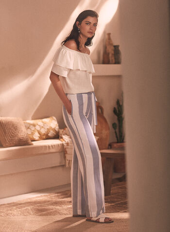 Striped Pull-On Pants, White,  spring summer 2021, pants, vertical stripe, made in Canada, belt, knot detail,