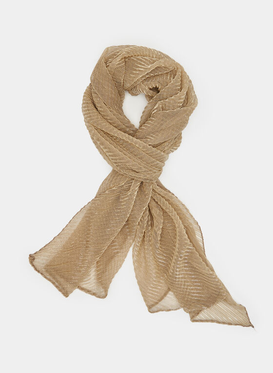 Textured Glitter Scarf, Gold, hi-res