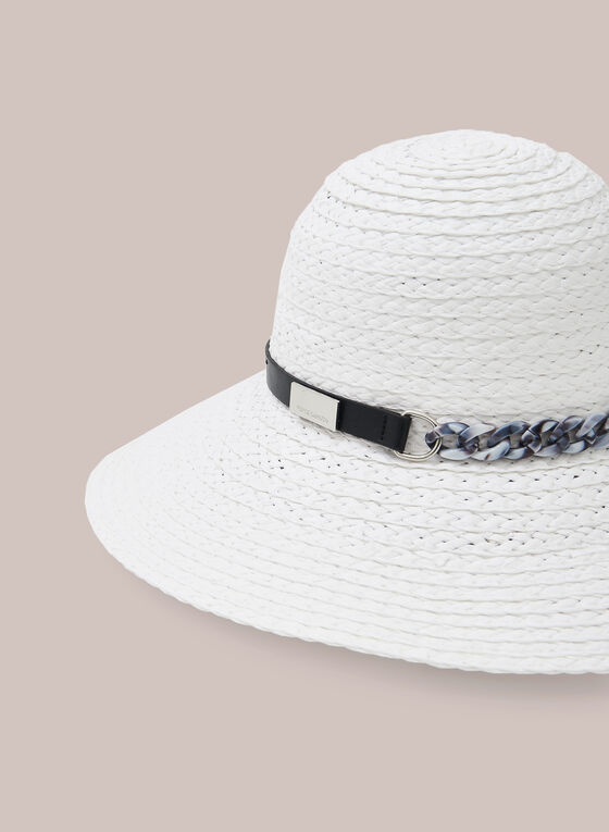 Capeline en paille tressée et détail chaîne, Blanc
