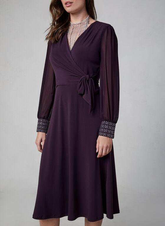 Maggy London - Robe cache-cœur à manches ballon, Violet