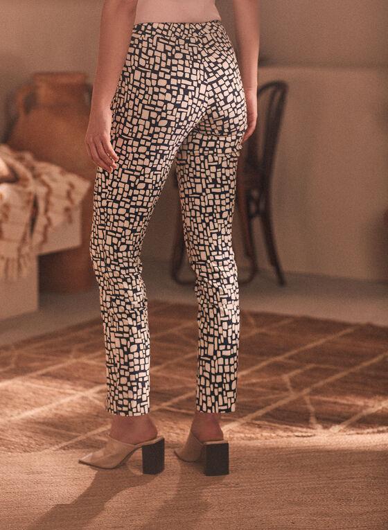 Abstract Print Pull-On Pants, Black