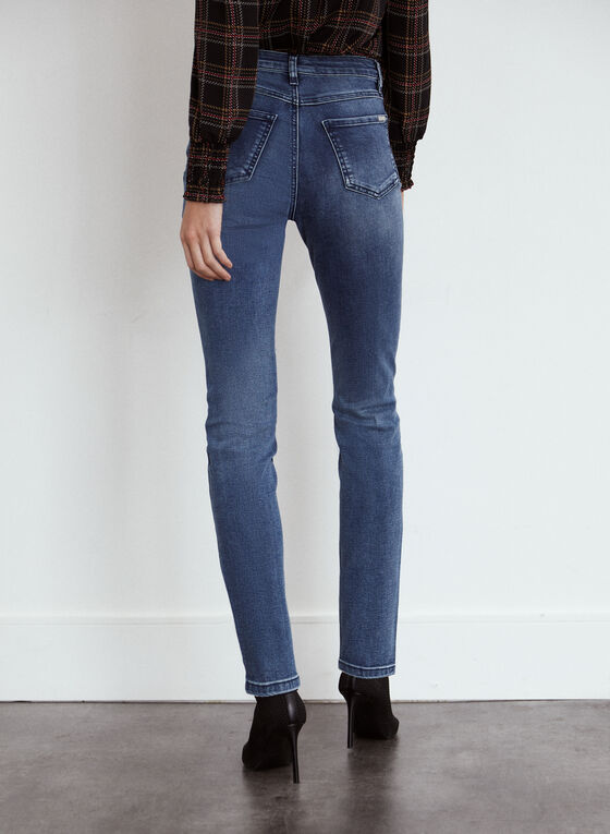 High Rise Distressed Jeans, Blue