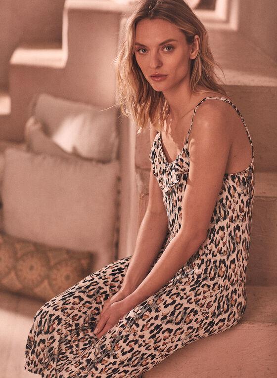 Robe de nuit à volant et motif léopard, Noir