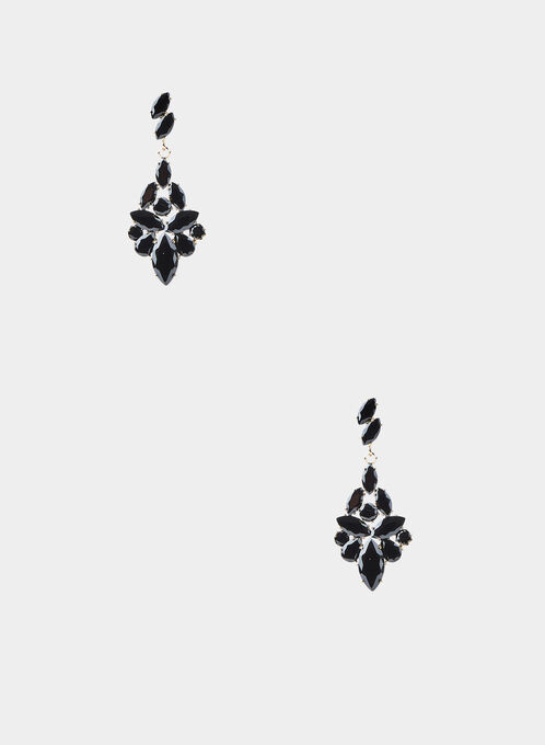Stone Cluster Earrings, Black
