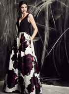 BA Nites - Floral Print Ball Gown, Red, hi-res