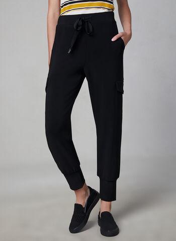 Pantalon cargo à jambe étroite, Noir, hi-res,  pantalon, jambe étroite, cargo, jersey, poches, lacets, pull-on, automne hiver 2019