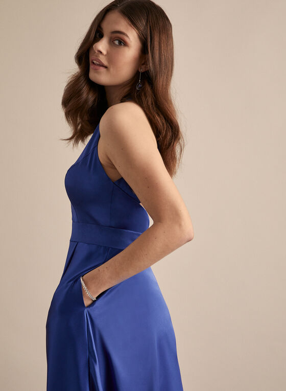 V-Neck Mesh Insert Dress, Blue