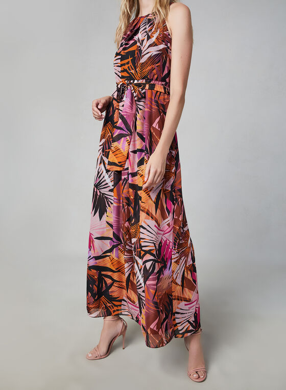 Donna Ricco - Tropical Print Maxi Dress, Black