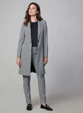 Vince Camuto - Houndstooth Redingote, Black,  Vince Camuto, redingote, jacket, long sleeves, houndstooth, notch collar, fall 2019, winter 2019