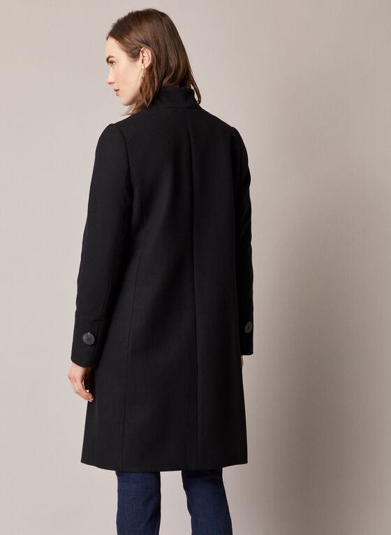 Mid Length Wool Blend Coat, Black