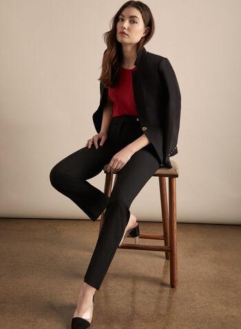 Pantalon Lauren Petite à jambe droite , Noir,  pantalon, lauren, petites, jambe droite, pinces, printemps été 2020