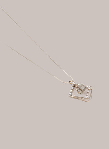 Layered Open Square Pendant Necklace, Gold,  fall winter 2020, necklace, jewelry, jewellery, accessories, pendant