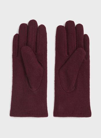 Gants en laine avec rosette et surpiqûres, Rouge, hi-res