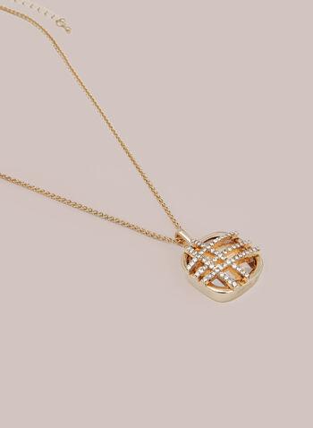 Collier à pendentif de pierre facettée, Or,  automne hiver 2020, collier, bijou, accessoire, pendentif, cristaux, pierre