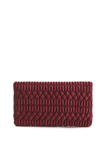 Quilted Velvet Clutch, Red, hi-res