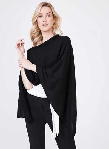Pashmina Knit Wrap, Black, hi-res