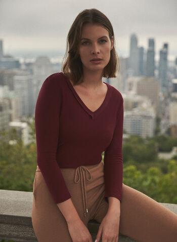 Vince Camuto - V-Neck Top, Red,  fall 2021, sweater, top, shirt, blouse, v neckline, long sleeves, layered hem, side slits, comfy, stretchy