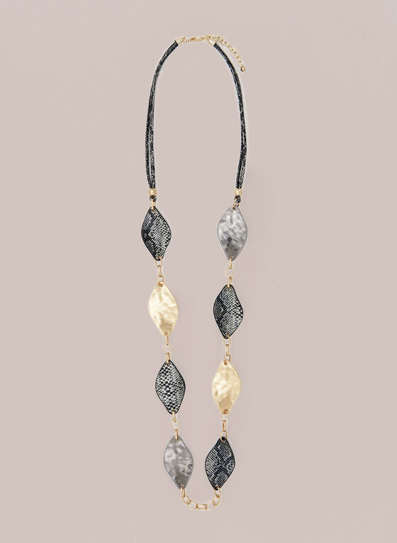 Metallic Leaf Necklace, Grey