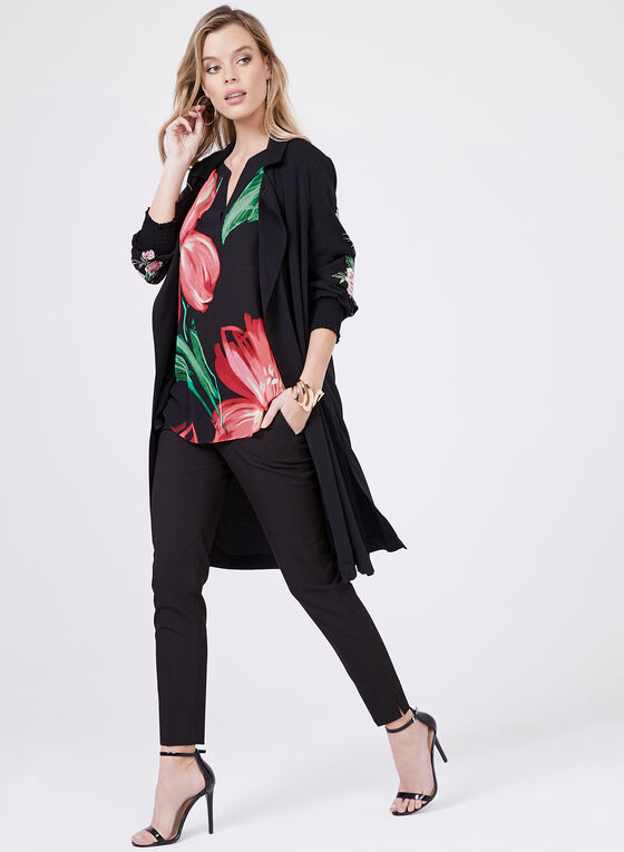Blouse florale en mousseline à manches kimono, Rouge, hi-res