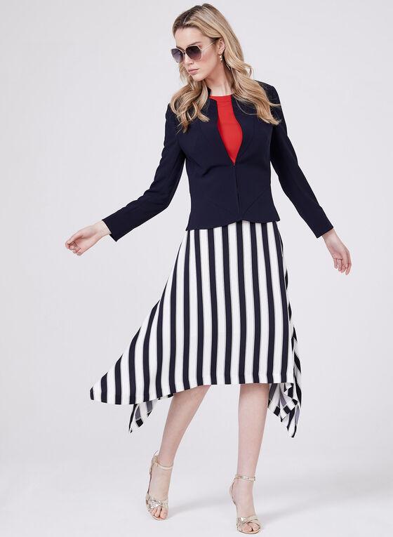 Stripe Print Sharkbite Skirt, Blue, hi-res
