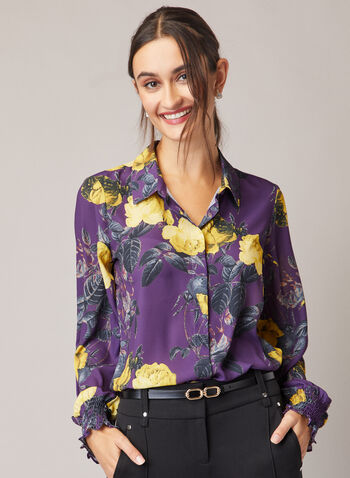Floral Print Crepe Blouse, Purple,  shirt collar, blouse, long sleeves, smocked, floral, stretchy, crepe, fall winter 2020