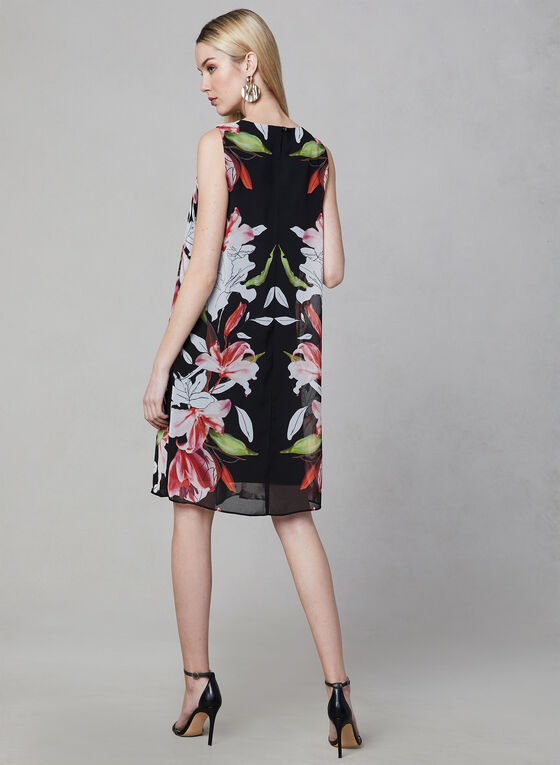 Floral Print Chiffon Overlay Dress, Black, hi-res